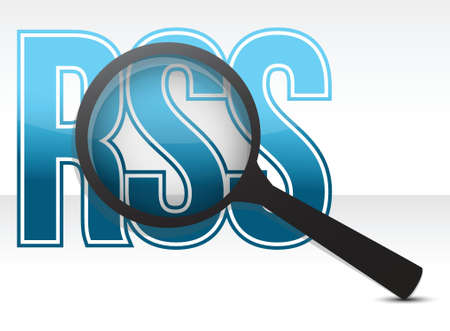 xml: rss magnify glass illustration design over a white background