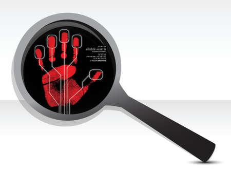 computer hacker: ingrandire concetto di design di sicurezza illustrazione su uno sfondo bianco Vettoriali