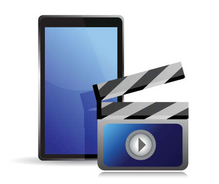 movie editing on a tablet illustration design over white Vector