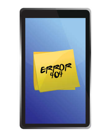 offline: tablet with a 404 error message illustration design over a white background Illustration