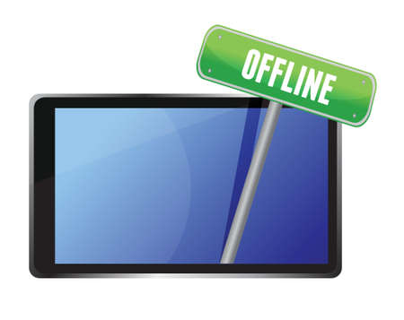 offline: tablet with offline message illustration design over white