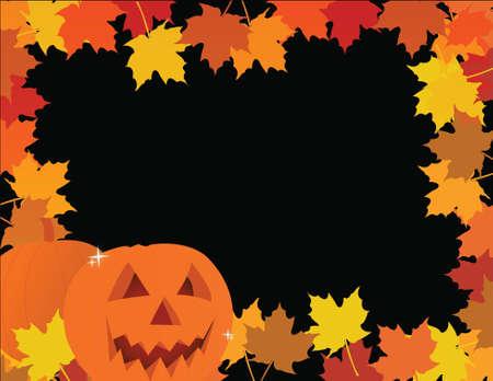 halloween pumpkin leaves frame illustration design Stock Vector - 16437854