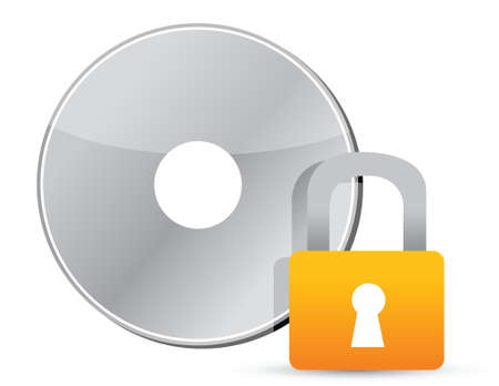 private information: cd or dvd protected information illustration design over white
