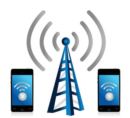 mobile device: wifi connection phones illustration design over white