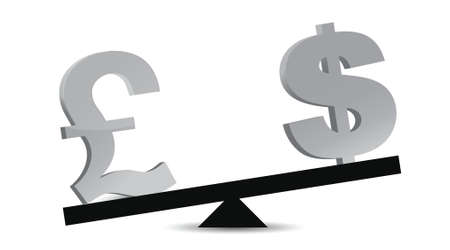 pound and dollar balance illustration design over white