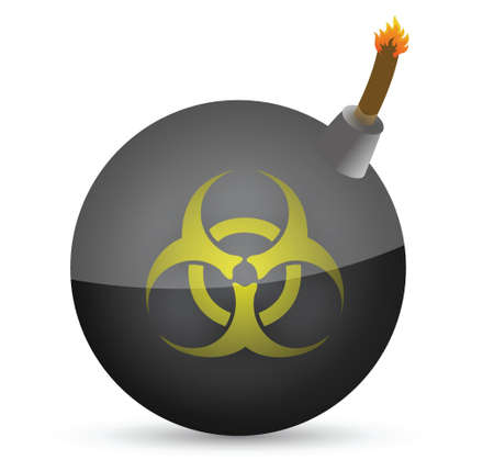 biohazard: bomb with a biohazard symbol in front illustration design over white
