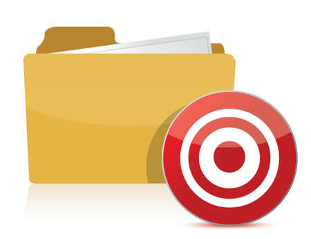 folder and target sign illustration over white
