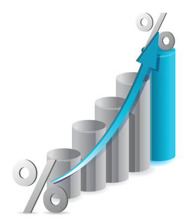 白グラフと割引率のイラスト デザイン
