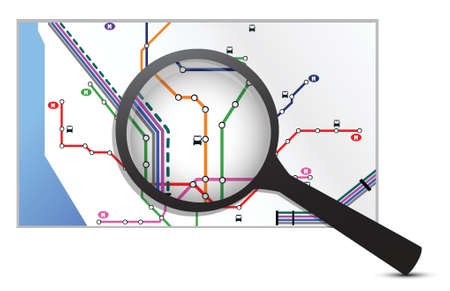 map under a magnifier illustration design over white Stock Vector - 16493613