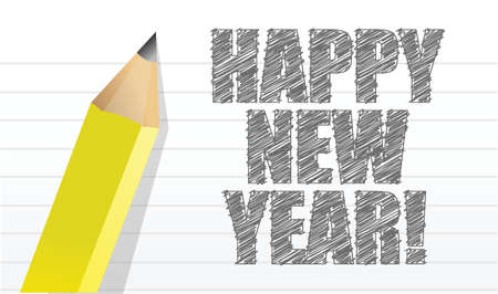 happy new year written on a notepad illustration design Vector