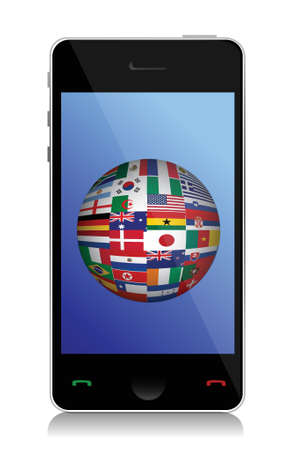 phone and flag globe illustration design over a white background Vector