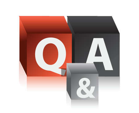 question and answers cubes illustration design over a white background Vector