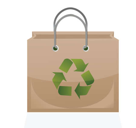 brown paper bag with recycle symbol illustration design Vector