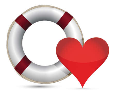 sos: lifesaver and heart illustration design over a white background