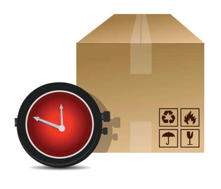 курьер: часы и упаковочную коробку дизайн иллюстрации на белом фоне