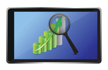 dimensionally: business graph and tablet illustration design over white
