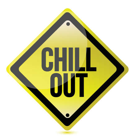 chill out yellow sign illustration over a white background Vectores