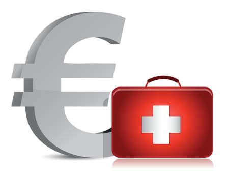 financial emergency: euro and medical kit illustration design over white