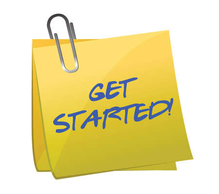 new start: get started post it illustration design over white