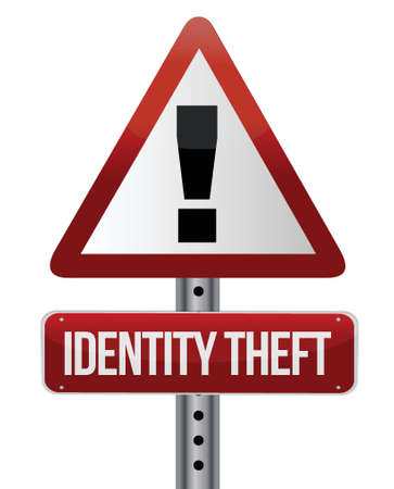 blab: identity theft sign illustration design over white