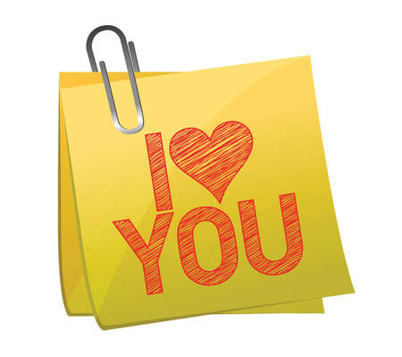 i love you on a post it illustration design over white Stock Vector - 16512788