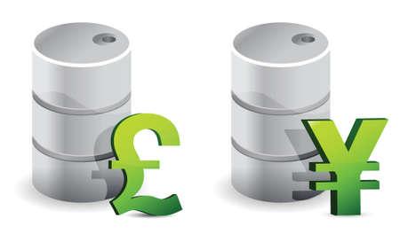 白でポンドと円の石油バレル イラスト デザイン