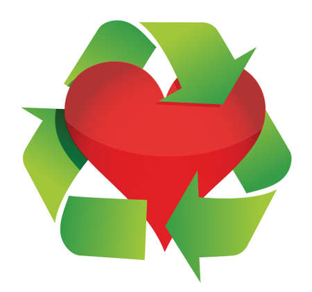 recycle heart illustration design over a white background Vettoriali