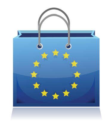 european shopping bag illustration design over white Illustration