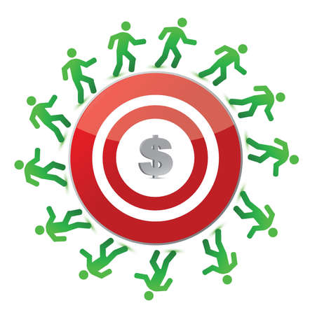 people running around a dollar target illustration design over white