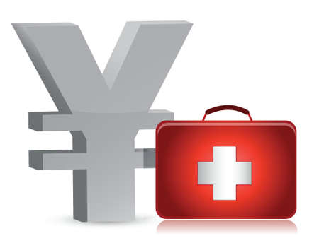 financial emergency: yen and medical kit illustration design over white