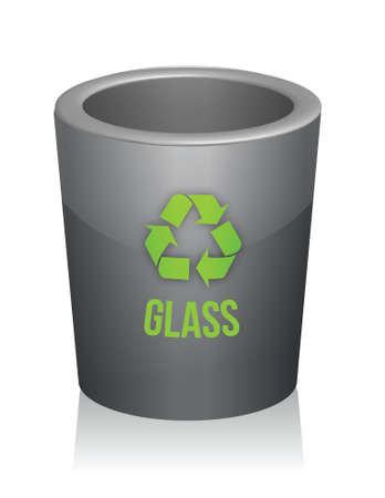glass recycle trashcan illustration design over white