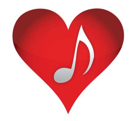 heart in music illustration design over a white background Vector