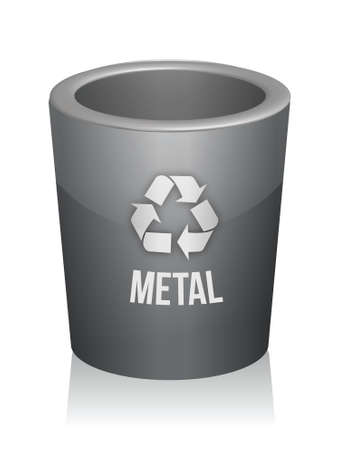 Metal recycle trashcan illustration design over white