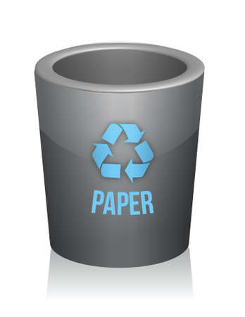 paper recycle trashcan illustration design over white Çizim