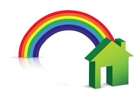 rainbow and house illustration design over a white background Ilustração