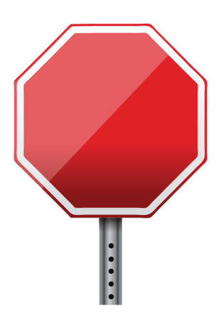 sign pole: empty stop sign illustration design over white Illustration