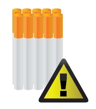 cigarettes behind a warning sign illustration design over white