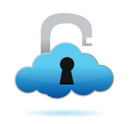 unlock cloud computing illustration design over white Stock Vector - 16571458