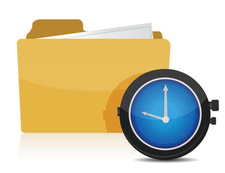 clock and folder illustration design over a white background Stock Vector - 16571443