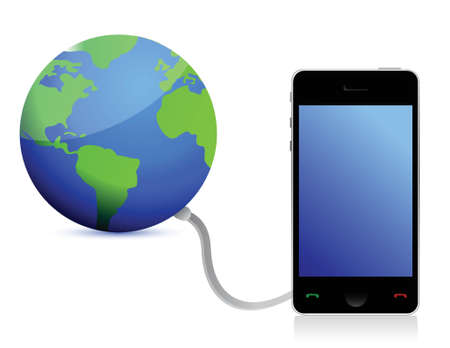 globe connected to a phone illustration design over white