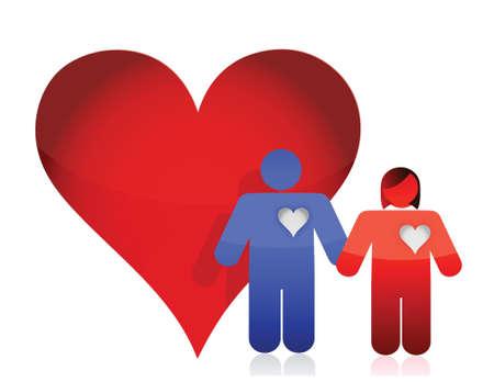 heart and lovely couple illustration design over white Stock Vector - 16571466