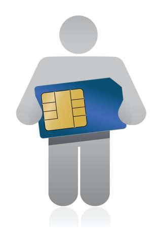 sim card: icon holding a sim card illustration design over a white background Illustration