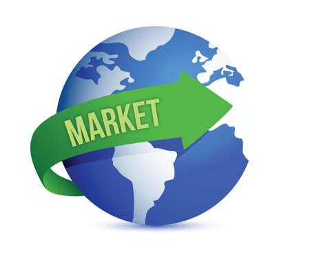 globally: market globally illustration design over a white background