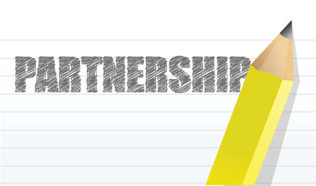 partnership written on a notepad illustration design