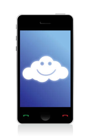 phone connected to a happy cloud illustration design over white Stock Vector - 16571492