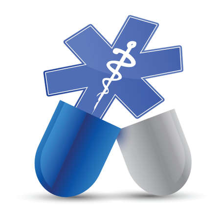medical pill illustration design over a white background design