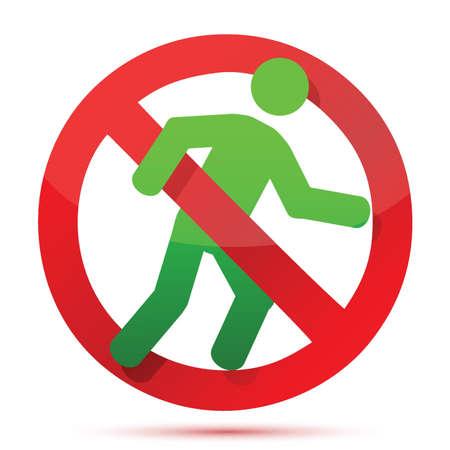 no running sign illustration design over white Vector