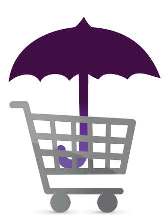 shopping protected by an umbrella illustration design Ilustração