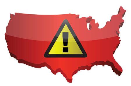 us map: US map and warning sign illustration design