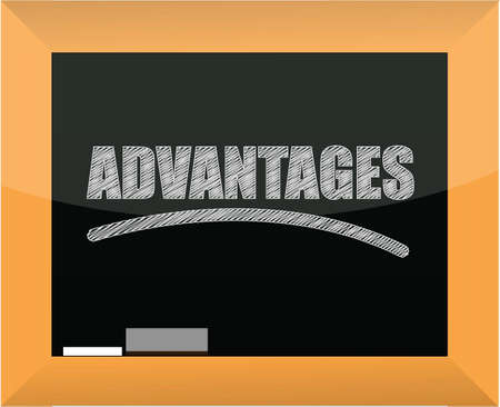 advantages: word advantages written on a blackboard illustration design Illustration